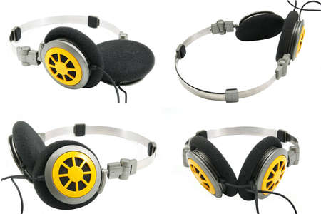 viewpoints: collection of portable headphones from different viewpoints Stock Photo