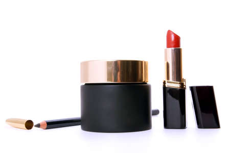 cosmetics collection: black cosmetics collection on white background Stock Photo