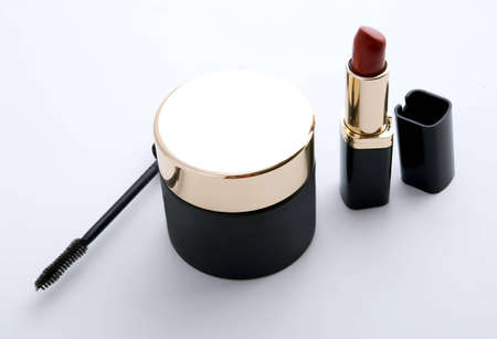 cosmetics collection: black cosmetics collection on gray background