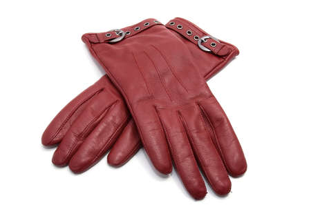 leather woman: red leather woman gloves isolated on white background Stock Photo