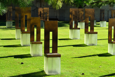 chairs at OKC Bombing Memorial in Oklahoma City Editorial