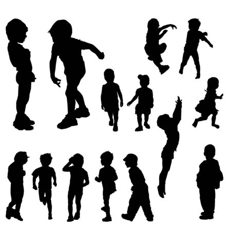 children silhouettes in different positions, illustration Illustration