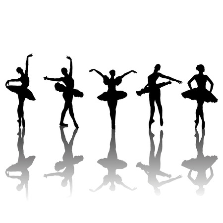 ballet ni�as: Cinco siluetas de bailarines de ballet en diferentes posiciones, ilustraci�n