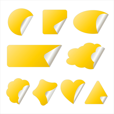 yellow stickers in different shapes isolated on whitwe,  illustration