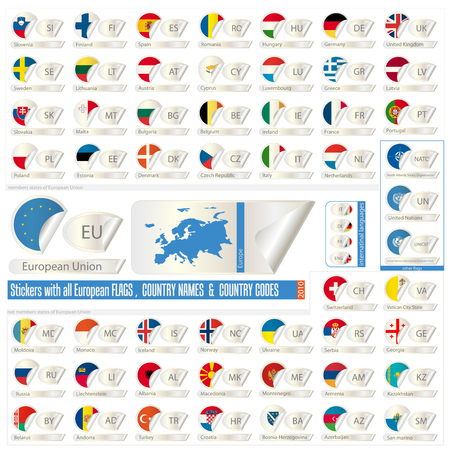 more then 150 stickers with european flags,country names &amp, codes isolated on white,  illustration Vector