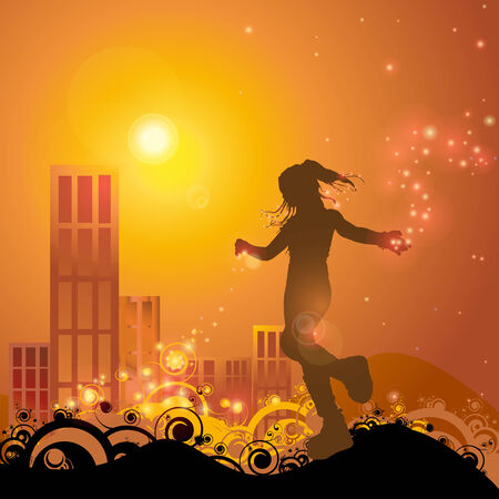 illustration of a girl playing with lights in sunset,  illustration