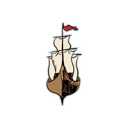 clip-art illustration of a sailing ship