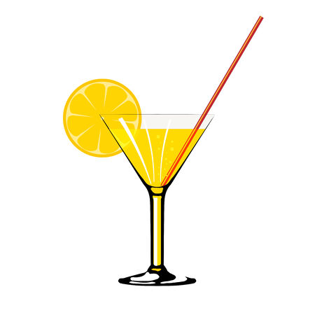 ilustration of a cocktail with lemon