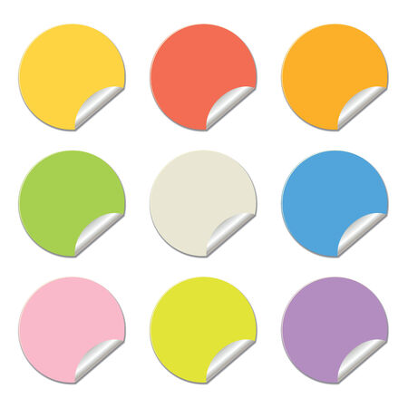 round stickers in different colors isolated on white. Illustration