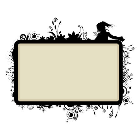 frame template with floral  vignette