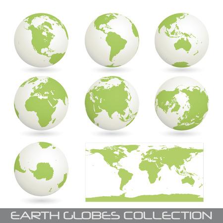 mapa de europa: colecci�n de globos de tierra terminar un mapa aislado en blanco.