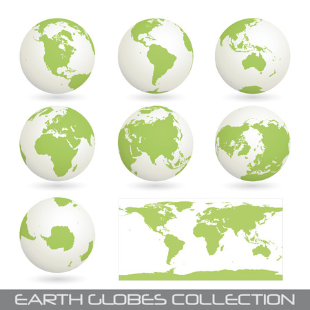 collection of earth globes end a map isolated on white.