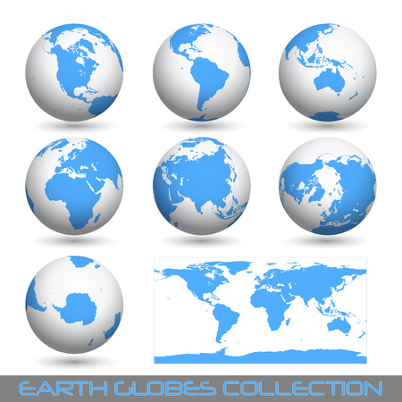 asia globe: collection of earth globes end a map isolated on white.
