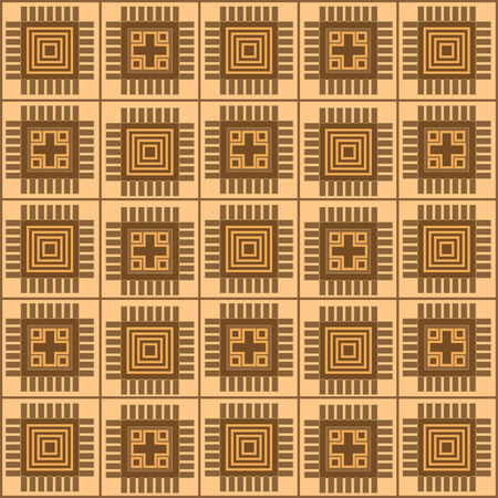 brown ornamental pattern with rectangle shapes. Vector