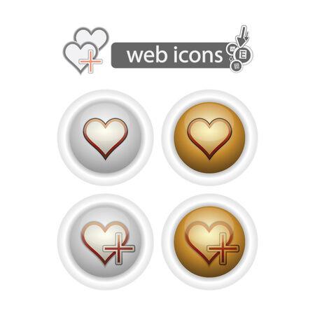 hart, web icons, isolated on white.
