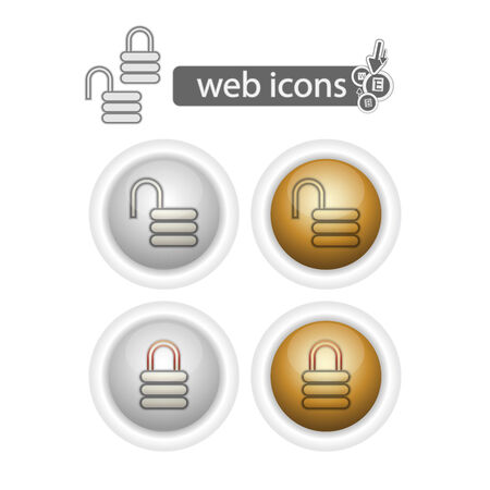 lock and unlock, web icons, isolated on white.