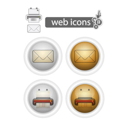 mail and printer, web icons, isolated on white. Illustration