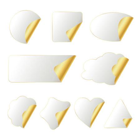 wit-gold stickers in verschillende vormen geïsoleerd op wit, afbeelding Stock Illustratie