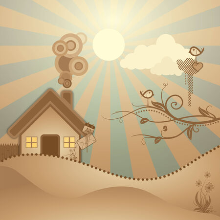 warm home: abstract rural scene ,illustration