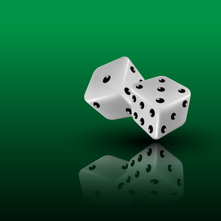 two dice on green background with reflection,  illustration