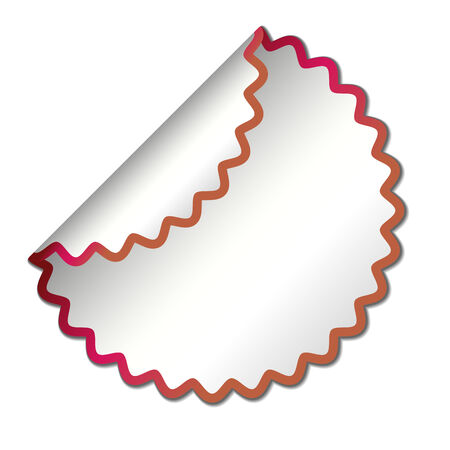 white blank sticker with red border,  illustration