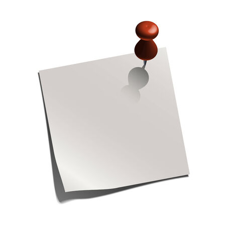 white paper note white a pin, illustration Illustration