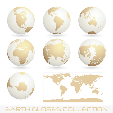 collection of earth globes isolated on white,  illustration