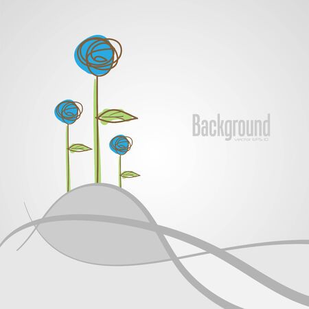 abstract background with flowers,   illustration Illustration