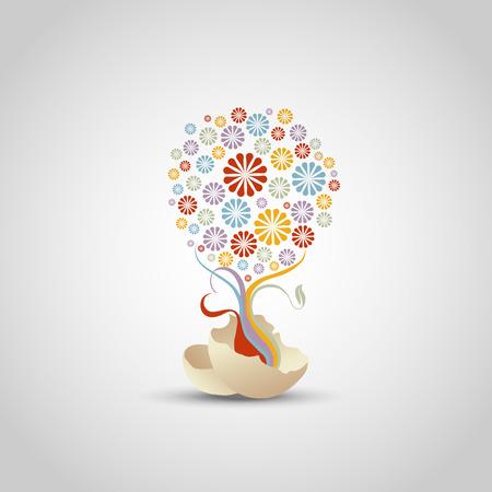 tree of flower - life concept, illustraton