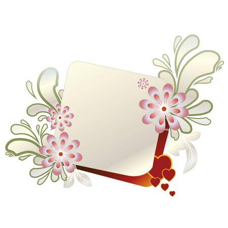 frame met bloemen geïsoleerd op witte illustratie  Stock Illustratie