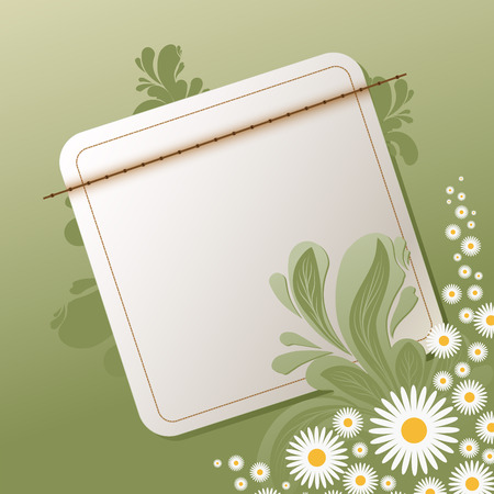 floral background with empty note illustration