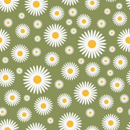 white bacground: floral green pattern - seamless,   illustration