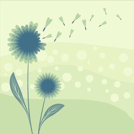 abstract dandelion scene illustration