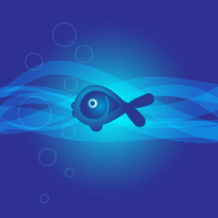 abstract marine background with a fish, illustration