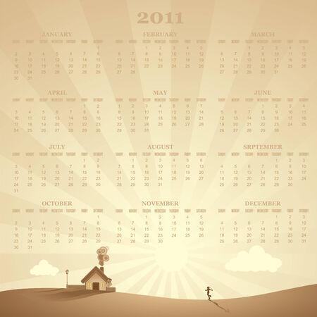calendar with a rural landscape scene in background, illustration Stock Vector - 7975758
