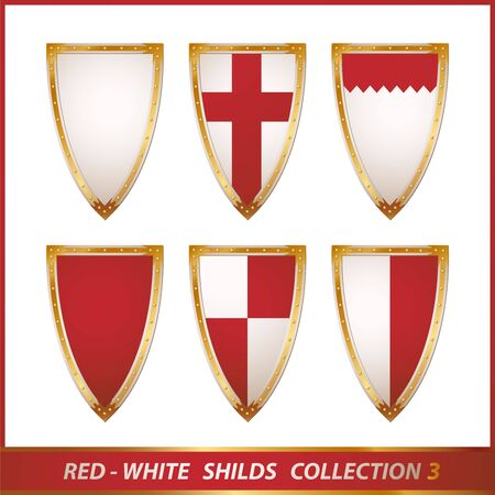 red-white shields collection, illustration illustration