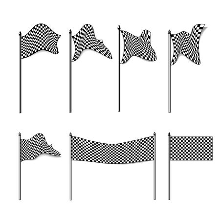 checkered flags colection isolated on white, illustration Stock Illustration - 8056140