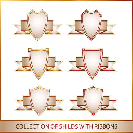 colection of shields with ribbons Stock Photo