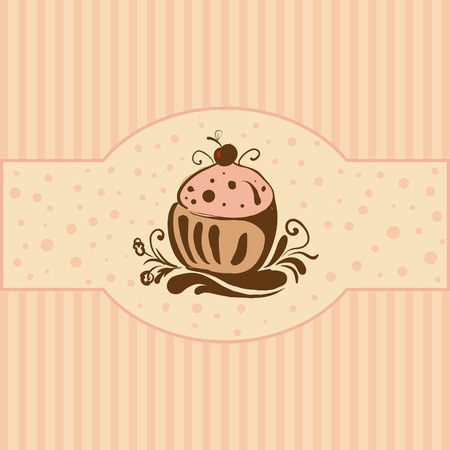 Cupcake - Card template Vector