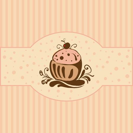 Cupcake - Card template Stock Vector - 8269551
