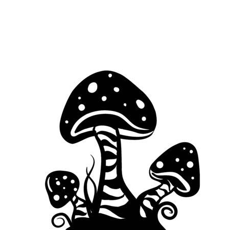 mushroom cartoon: hand draw mushrooms , illustration