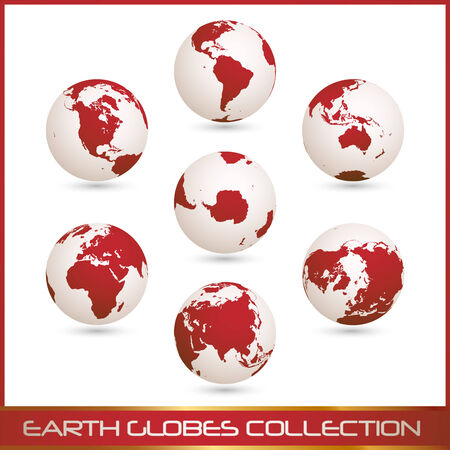 collection of white- red earth globes isolated on white