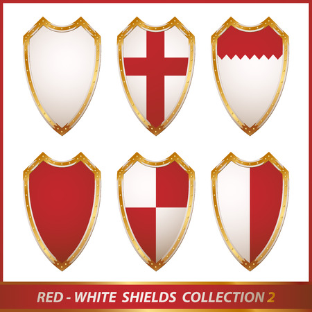 red-white shields collection, illustration Vector