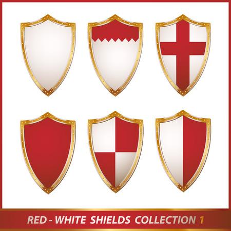 caballero medieval: colecci�n de escudos de rojo blanco, ilustraci�n Vectores