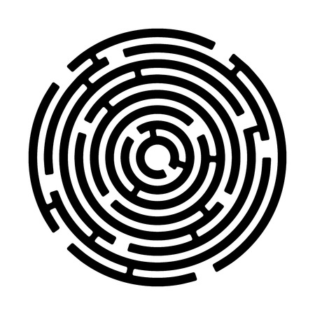 labyrinth: round maze isolated on white