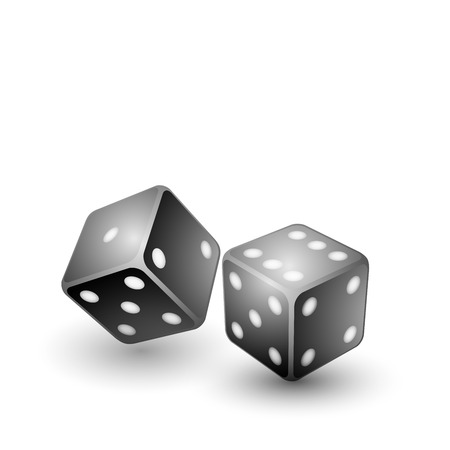black dices isolated on white, vector illustration