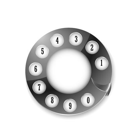 bakelite: telephone disk isolated on white, vector ilustration