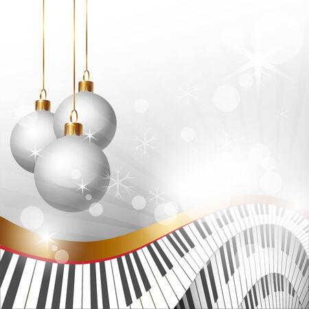 Magia de la Navidad y la música de fondo, ilustración vectorial