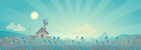 rural scene:  rural landscape scene after sunset, illustration Illustration