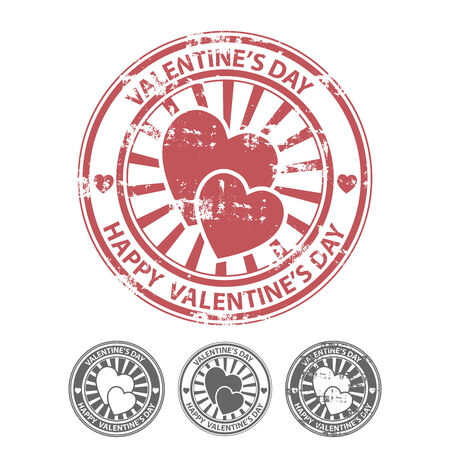 Grunge rubber stamp with two hearts, and other variants of the same stamp. illustrator